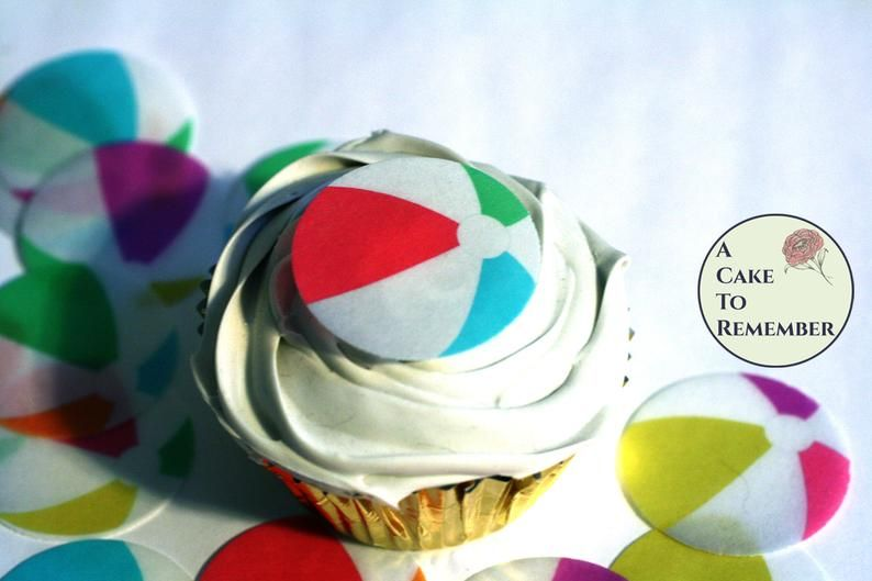 24 Beach Ball Cupcake Toppers Edible Wafer Paper 1 5 Tall For