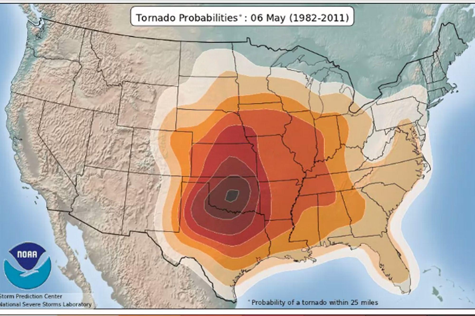 Animated Tornado Probability Map Storm Prediction Center Severe Weather Tornado