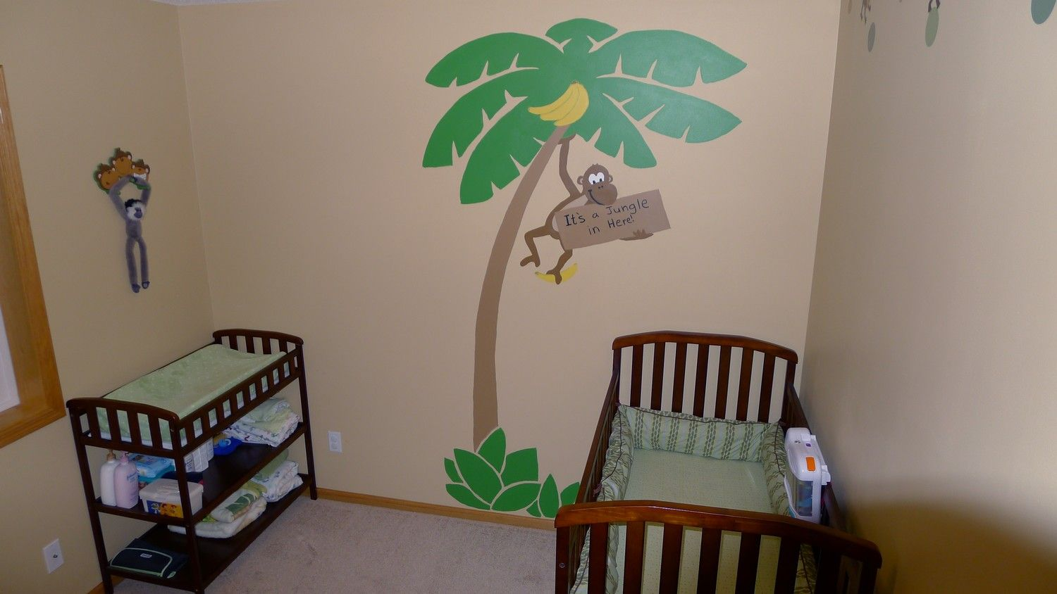 This is the Cutest Hand Painted Monkey with a cute Monkey Themed Bedroom