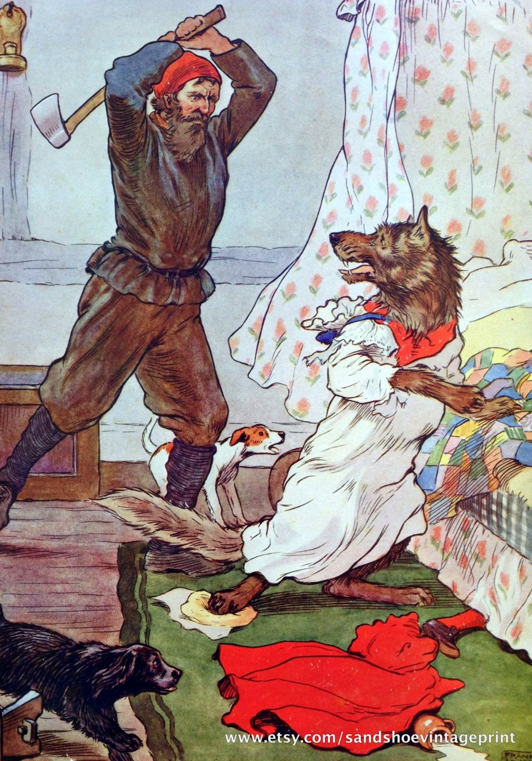 1910s Axeman Red Riding Hood Wolf Grimm Fairy Tale By Hope Dunlap