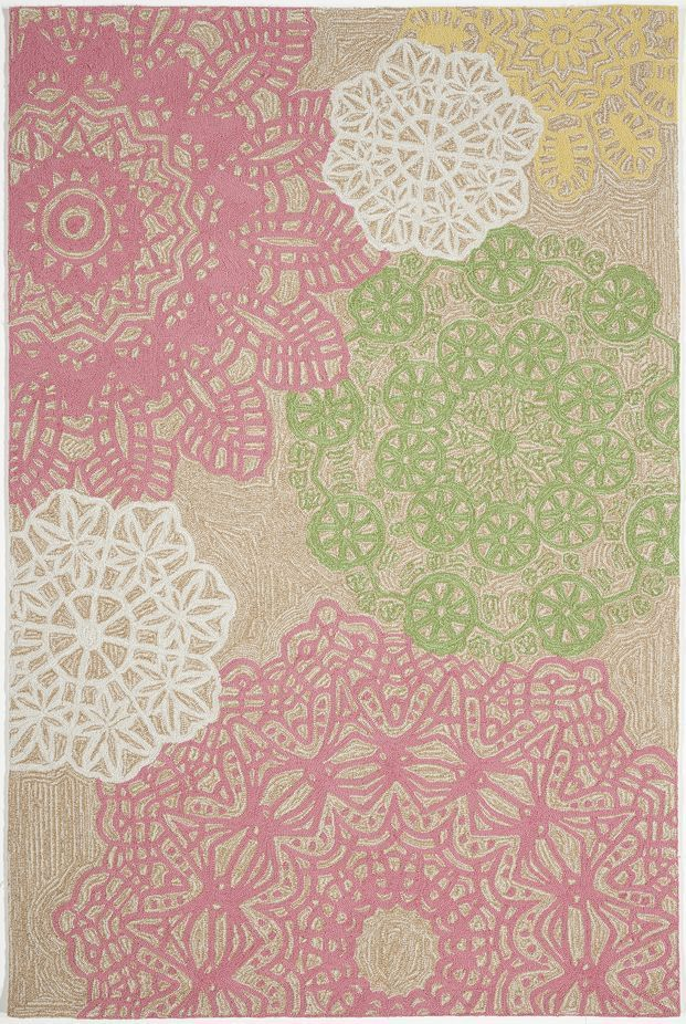 5 X 8 Tan Pink Green Fl Hand Tufted Wool China Transitional Area Rug