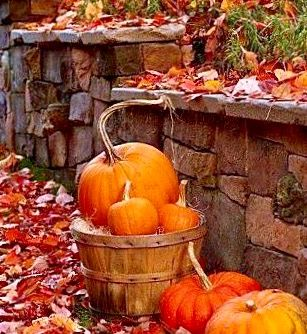 Simply a Winner-Pumpkins in Baskets & Autumn Leaves