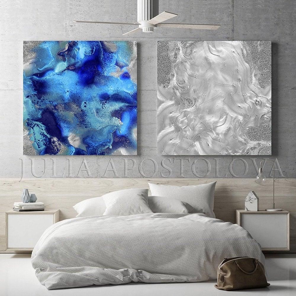 Blue Grey Wall Art Large Set Of Prints Silver Navy Blue Wall Etsy In 2020 Navy Blue Wall Art Blue Grey Walls Grey Wall Art