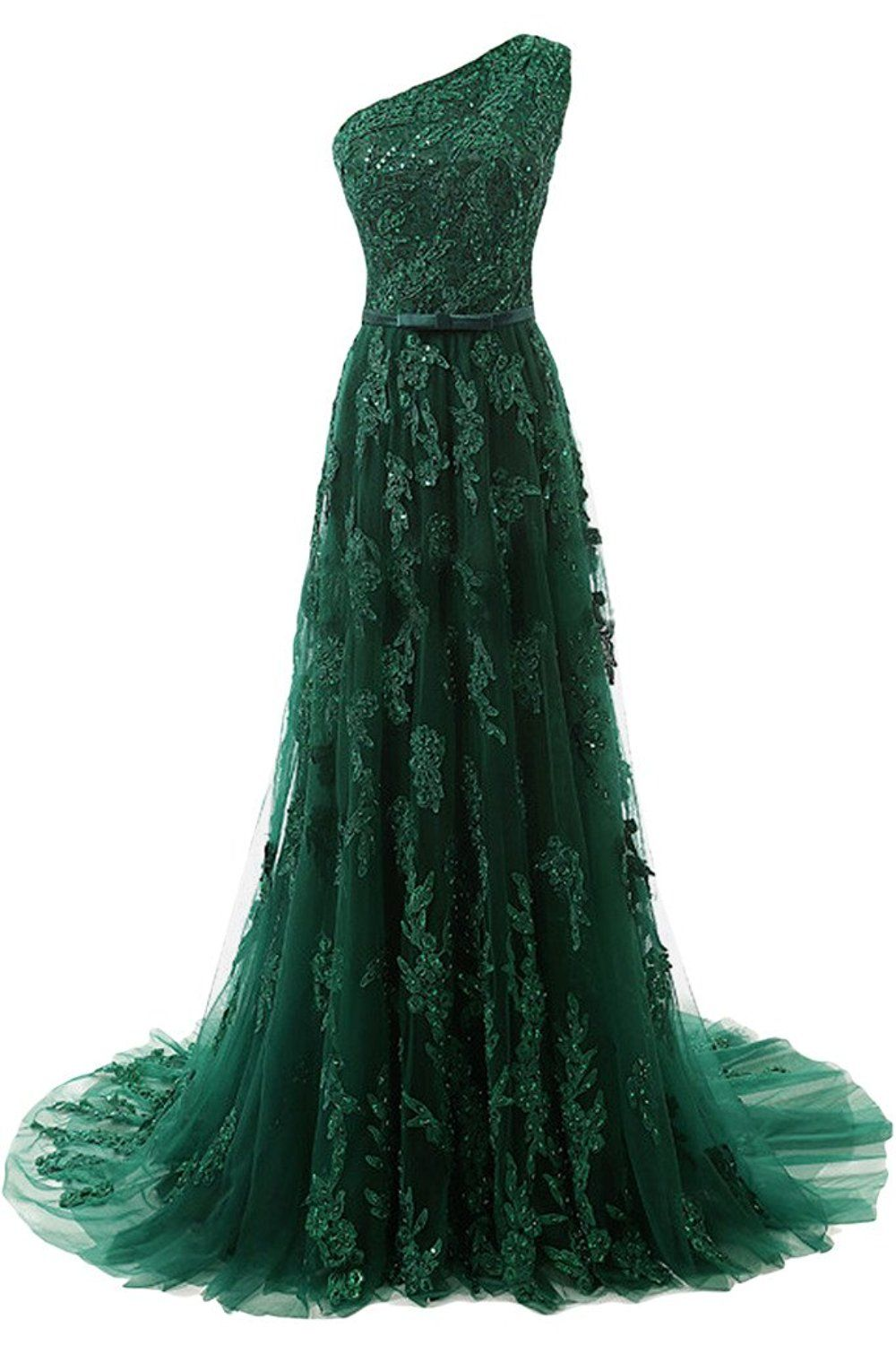 Dark Green Floor Length Lace Appliqués Tulle Evening Dressone