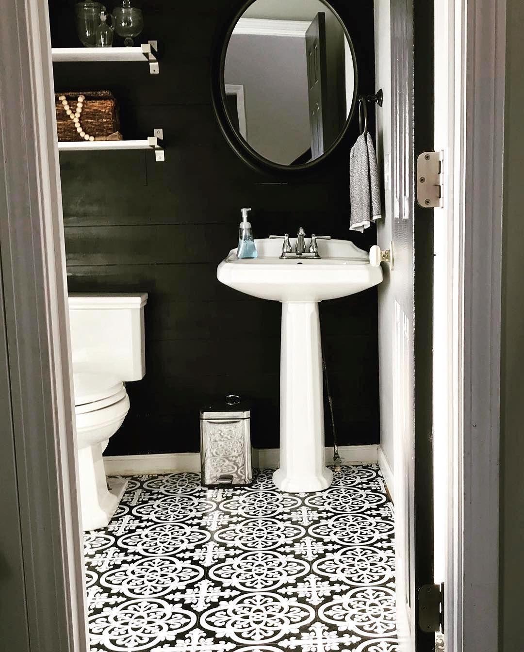 Floorpops Peel And Stick Floor Tiles In A Powder Room Bathroom Makeover With Black Shiplap Peel And Stick Floor Master Bathroom Refresh Classic Bathroom Design