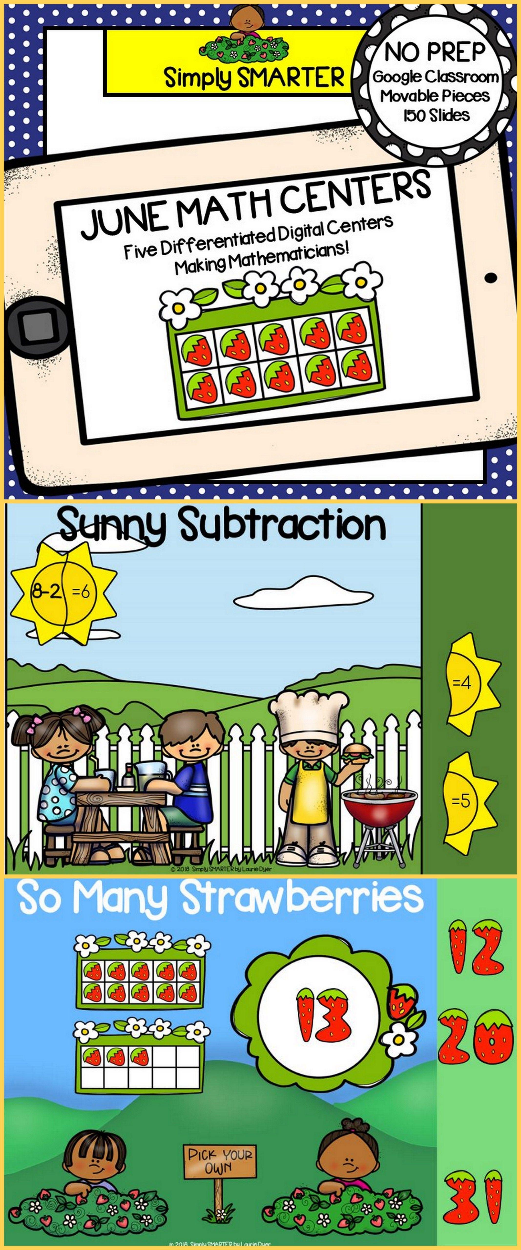 June Kindergarten Digital Math Centers For
