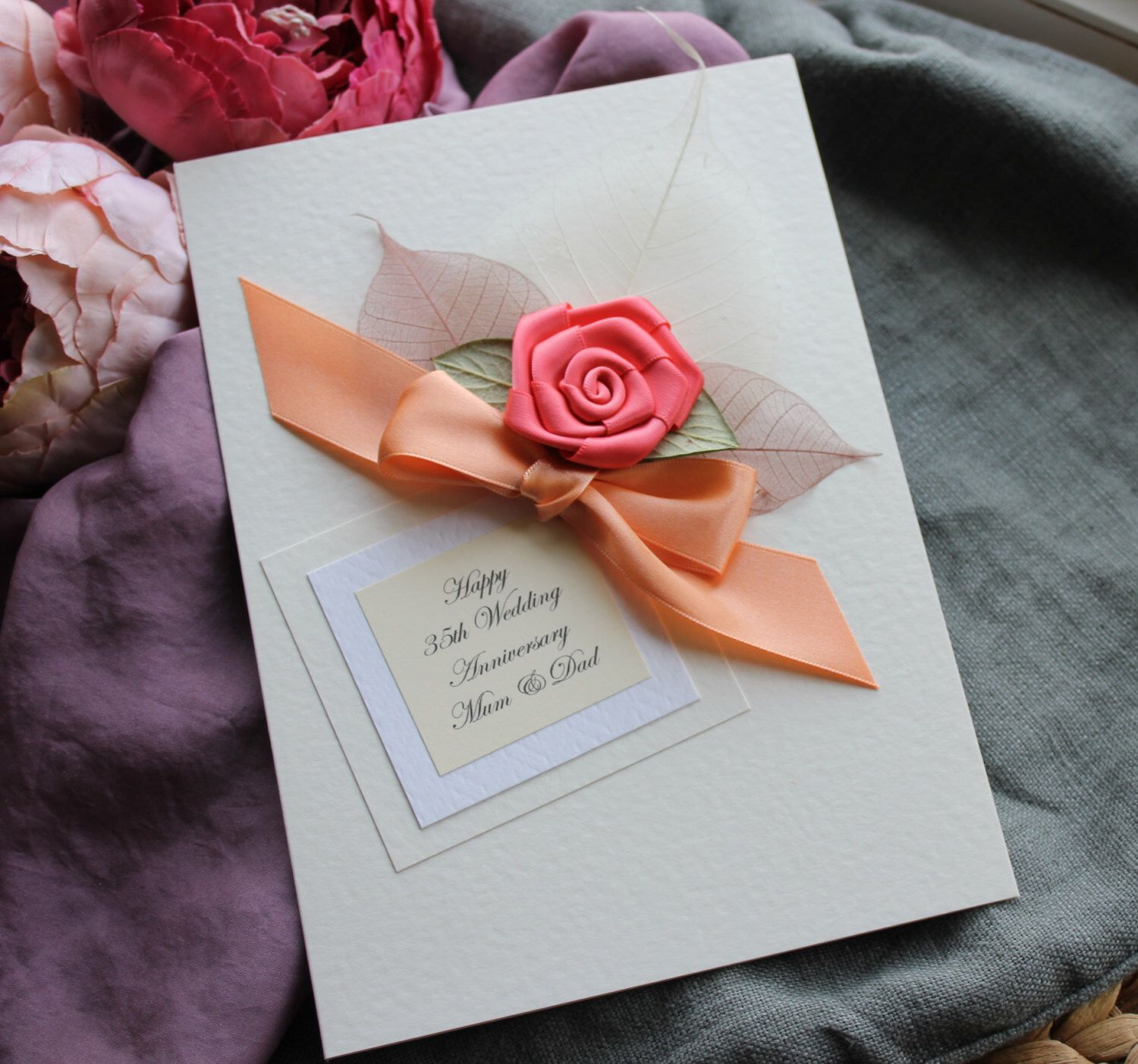 Personalised Handmade Card Coral 35th Wedding Anniversary Parents Wife 1st First One Year 18th 21st