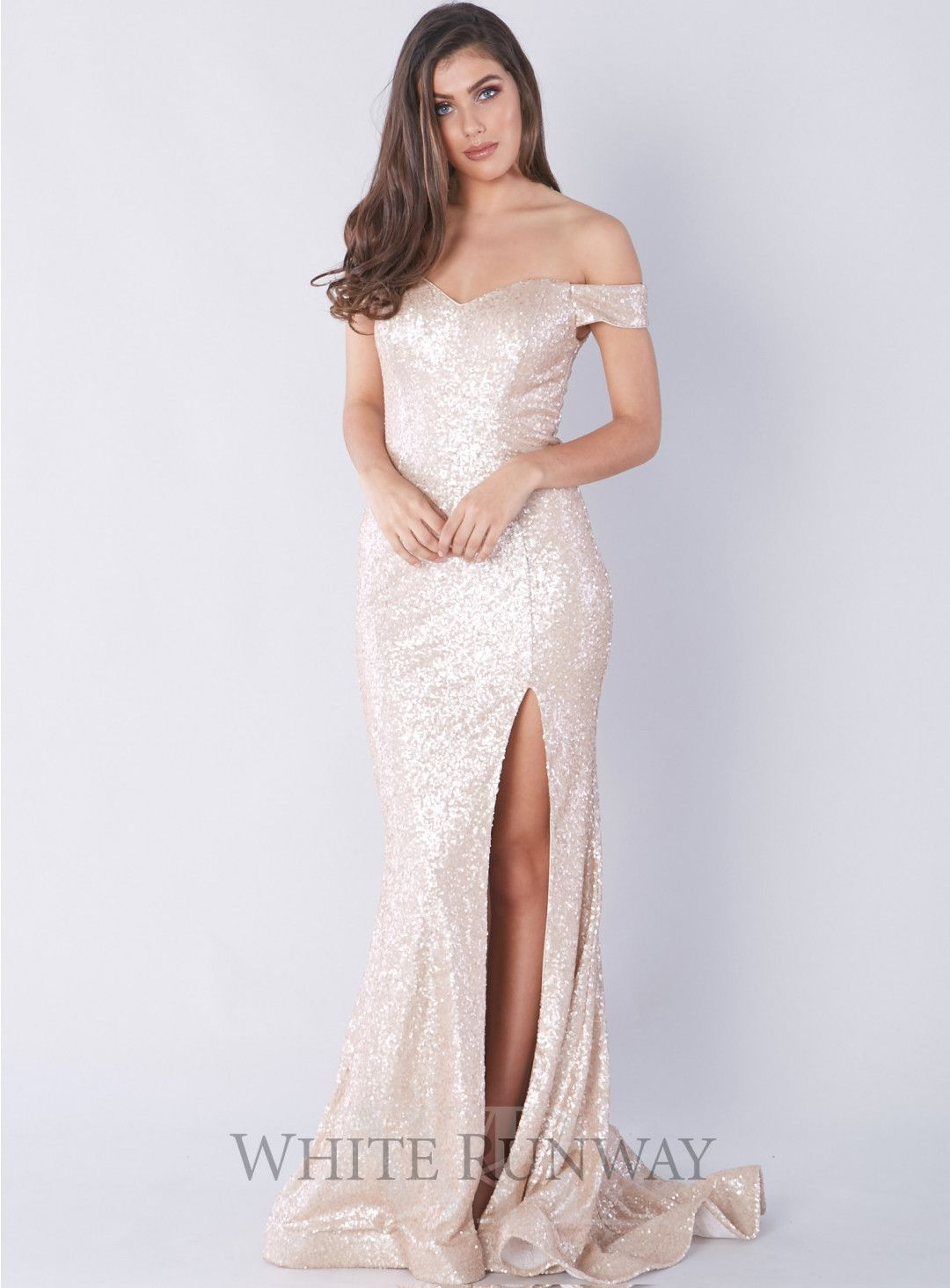Exclusive off shoulder sequin gown a gorgeous full length dress by