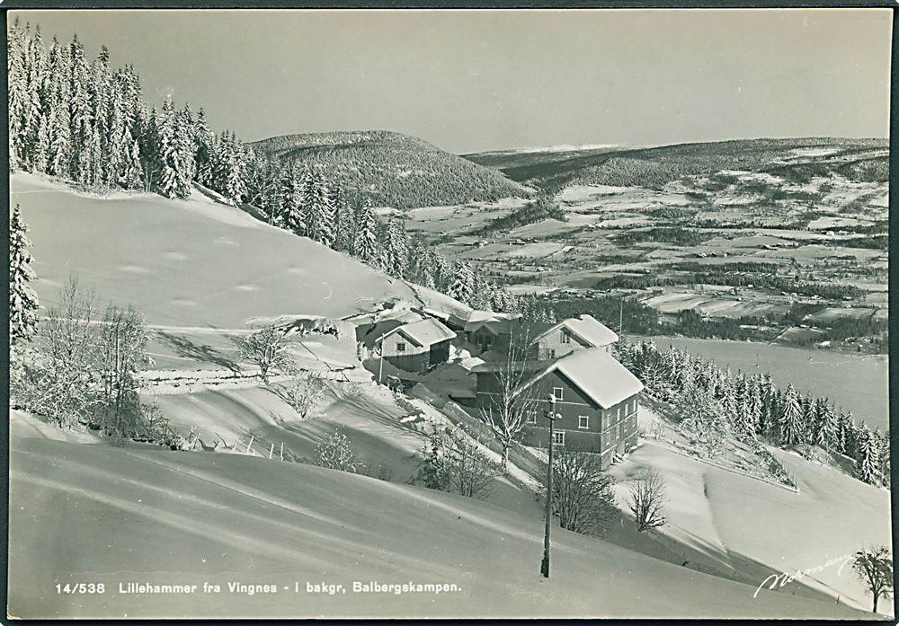 Oppland fylke Lillehammer fra Vingnes - i bakgrunnen ses Balbergskampen, Normanns Kunstforlag 1950-tallet
