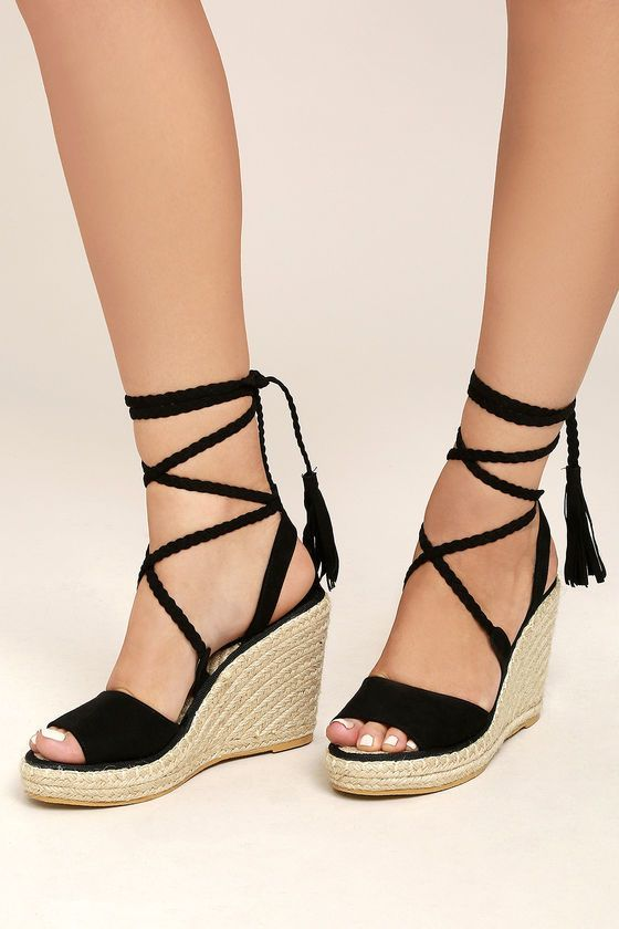 8542e5a7be8 Cute Espadrille Wedges - Black Wedges - Vegan Wedges - Lace-Up Wedges