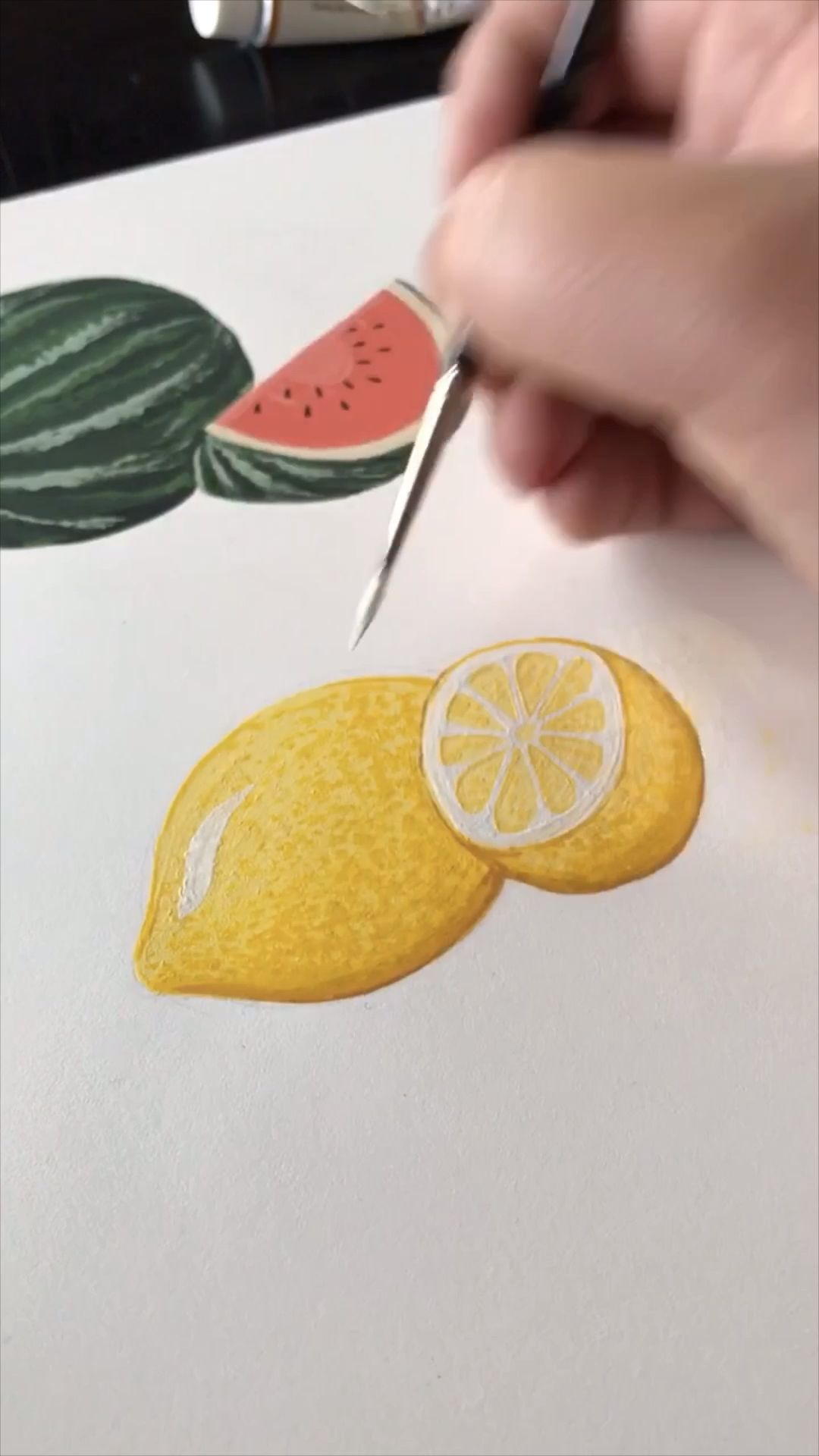 See more fun and satisfying videos on my YouTube. This is a video of me Gouache Painting a lemon. I also painted more lemons in my sketchbook. A great video to follow along with me or relax to relieve some anxiety!