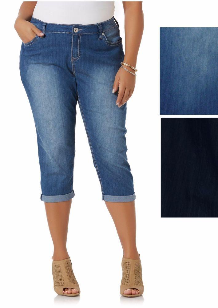 5c7e62faa2108 Simply Emma Womens Plus Capri Jeans Zavadi Cuffed sizes 20W 22W 24W NEW  16.99 http