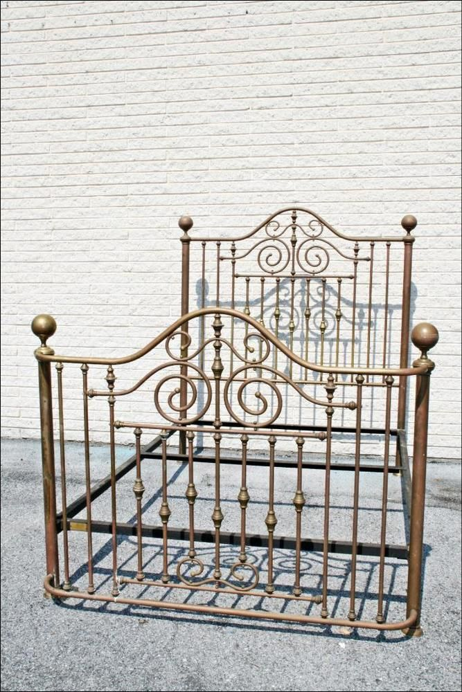 Vintage Brass Bed Frame Headboard Footboard Complete Queen Antique
