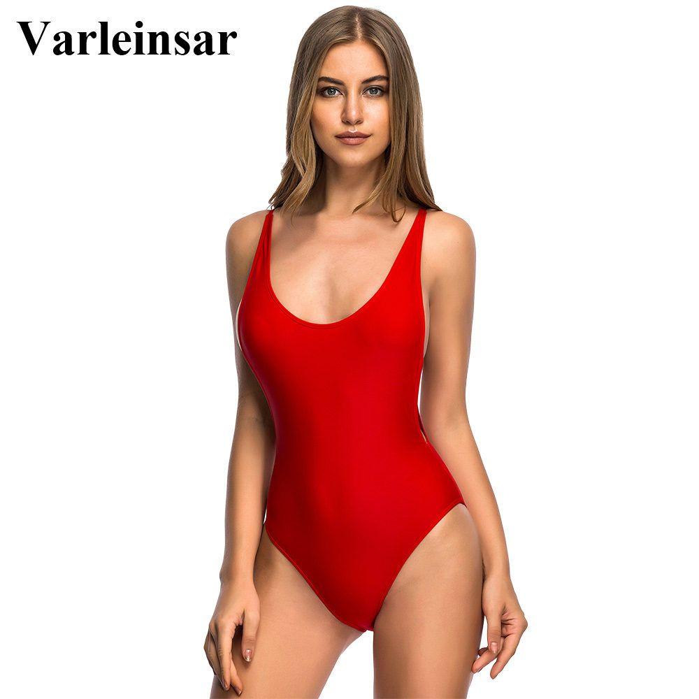 9df309a9da7b7 Aliexpress.com : Buy Varleinsar 2017 Low Cut V neck Red bodysuit Sexy one  piece swimsuit Backless female Swimwear women Bathing suit swim wear V111R  from ...