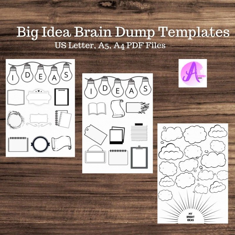 Brain Dump Printables. Big Idea Templates. Bullet Journal