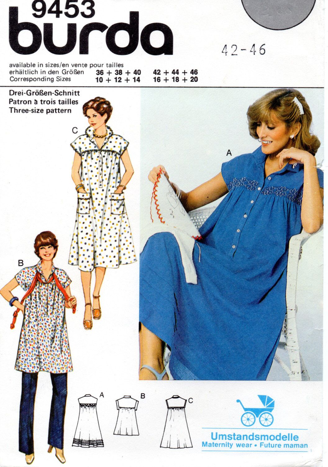 Vintage 1980s plus size maternity dress and top sewing pattern vintage 1980s plus size maternity dress and top sewing pattern burda 9453 misses jeuxipadfo Choice Image