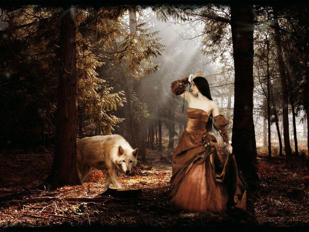 Картинки волки и девушки осень, день рождение