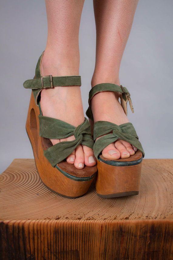 7282257901465 1970s platform shoes . 70s leather and wood heels . vintage disco ...