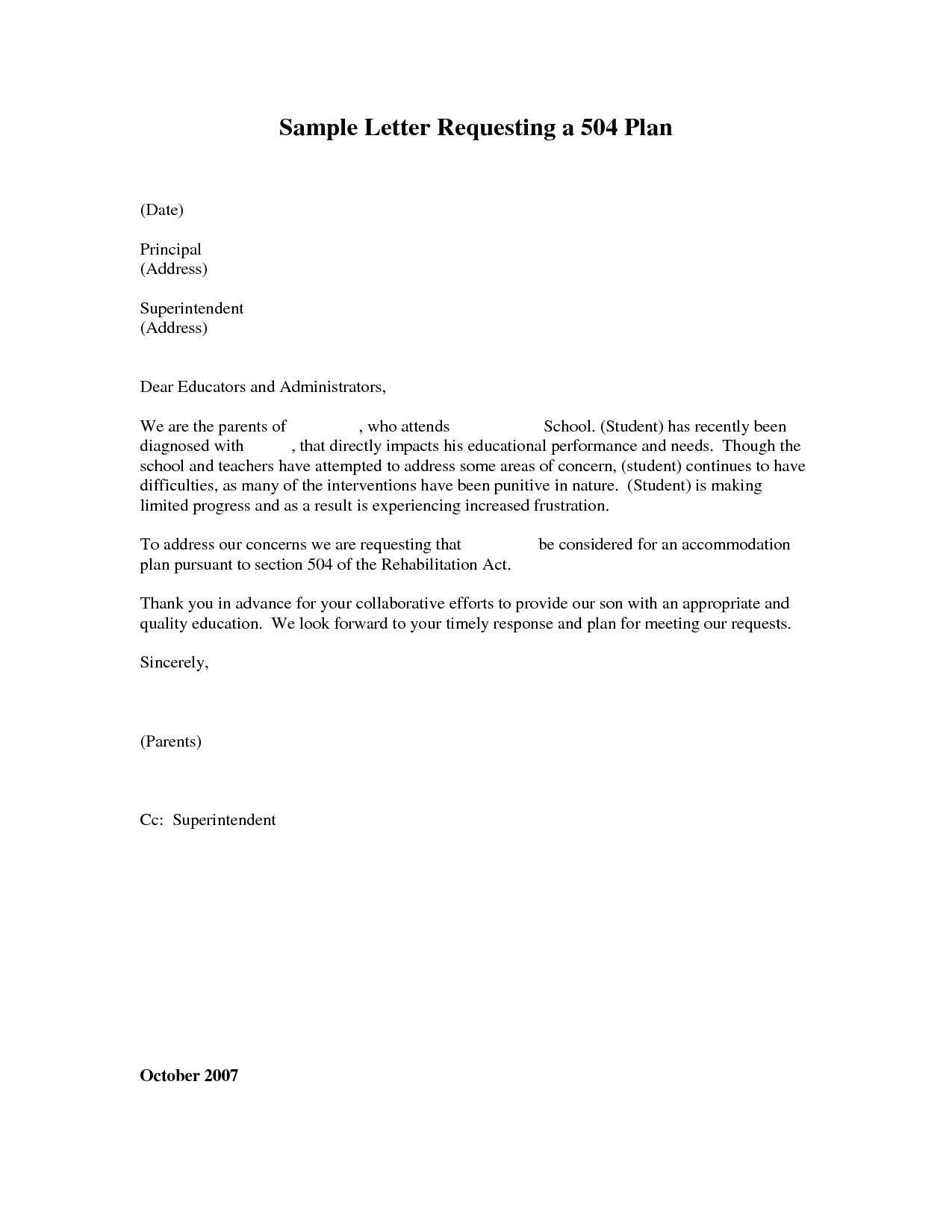 B 504 B Plan Date Principal Address B Sample B Letter