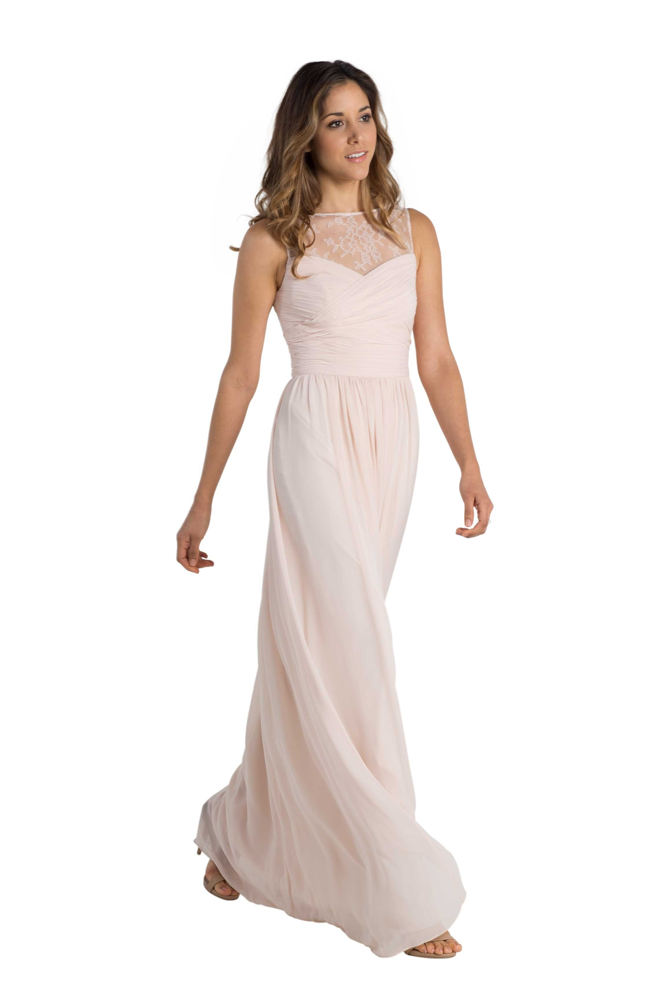 Monique lhuillier riley to be lace and blush a floor length allusion lace chiffon bridesmaid dress with cutout back in six colors ombrellifo Gallery