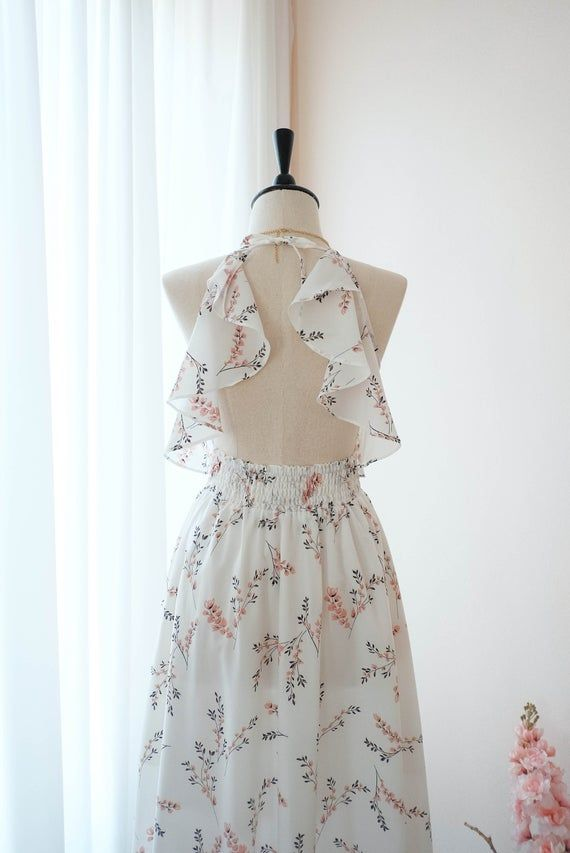 Off white dress Floral White Bridesmaid dress Mid Length Cocktail Dress White Party Prom Wedding dre #backlesscocktaildress