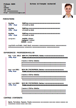 Modele De Cv A Remplir Gratuit Au Format Word Curriculum Vitae Cv Words Best Resume Format