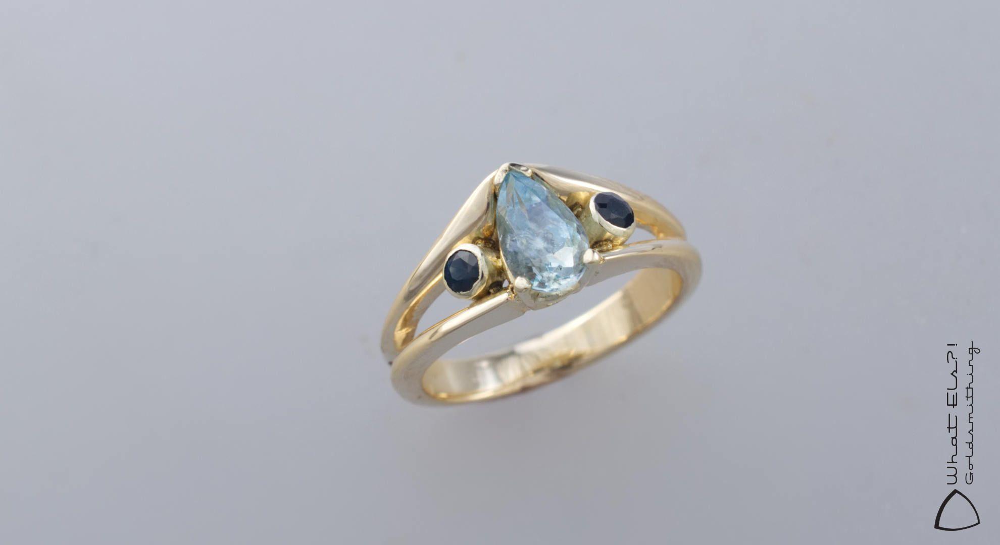 Gouden Ring Met Aquamarijn En Saffier What Els