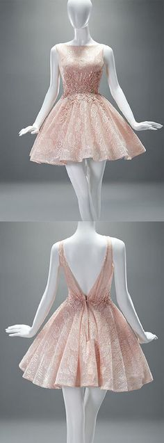 A-line Scoop Short Champagne Backless Lace Homecoming Dress With Appliques…