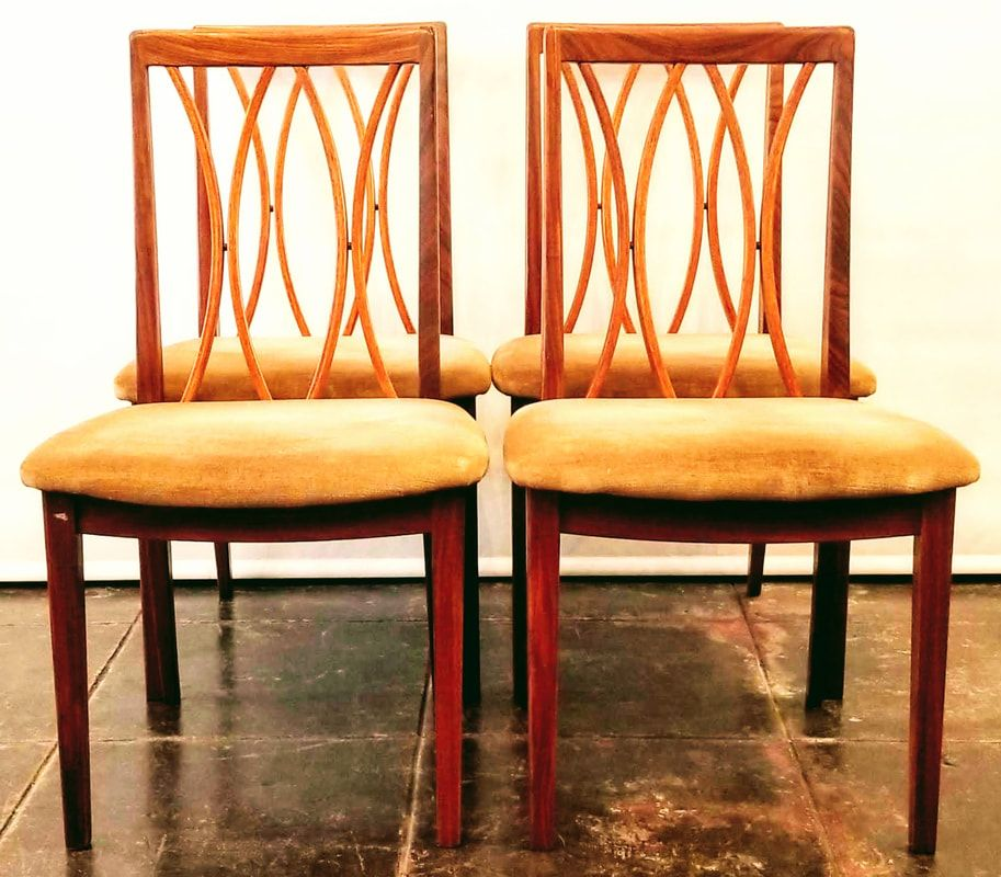 Set Of Four Danish Modern Curve Back Dining Chairs From The Fresco