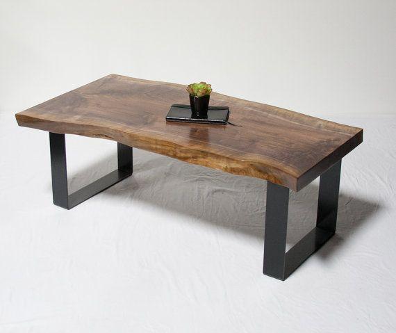 Black Live Edge Coffee Table: Black Walnut Reclaimed COFFEE TABLE Live Edge By