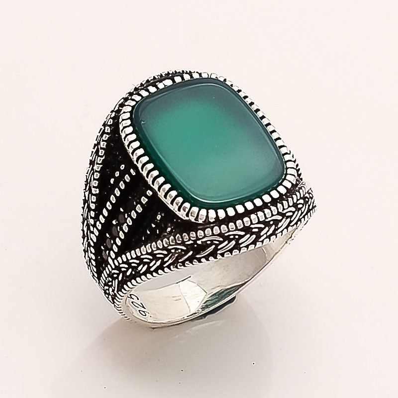 Handmade Jewelry Natural Gemstone Rings for Men Best Gift for Him Free Shipping. Green Onyx Ring Solid 925 Sterling Silver Ring