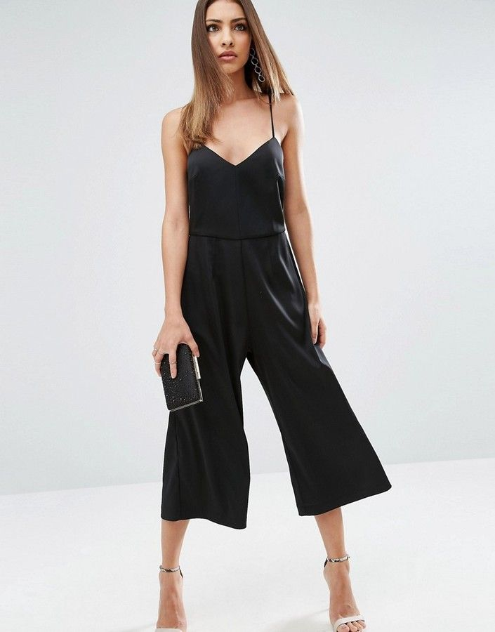 Asos Cami Satin Jumpsuit With Culotte Leg | Overall ...