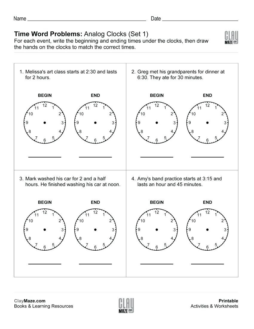 1st Grade Time Worksheets Math Worksheet For Kids In 2020 Time Worksheets Time Word Problems Word Problems