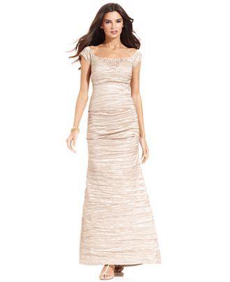 Alex Evenings Dress, Off-the-Shoulder Beaded Crinkled Taffeta Gown - Dresses - Women - Macy's
