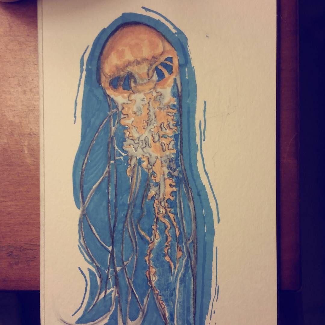 Quick messy jellyfish doodle via allnonsense on Instagram  July 2015 ArtSnacks Challenge