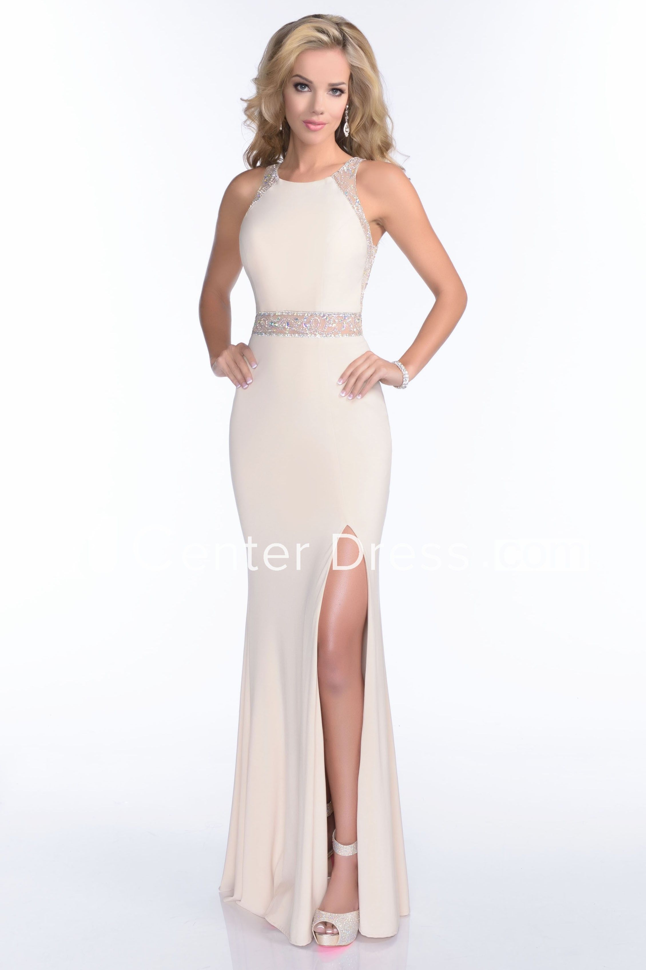 2b0ee021fa5 Mermaid Jersey Side Slit Sleeveless Prom Dress With Crystal Embroidery And Illusion  Back - UCenter Dress