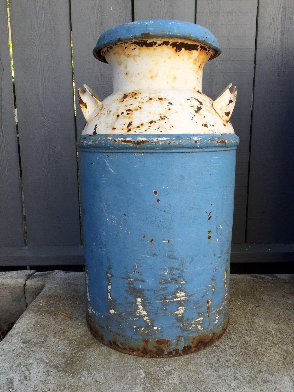 Vintage Milk Jug; Large Rustic Milk Jug; Milk Can; Rustic