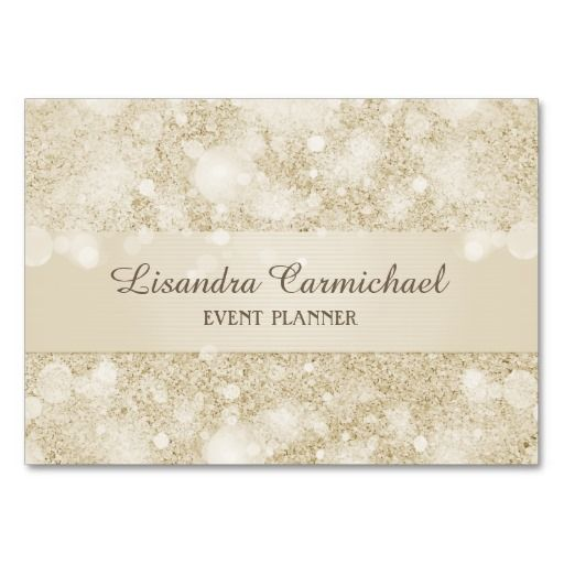 Mocha Cream Bokeh Event Planner Business Cards Business cards
