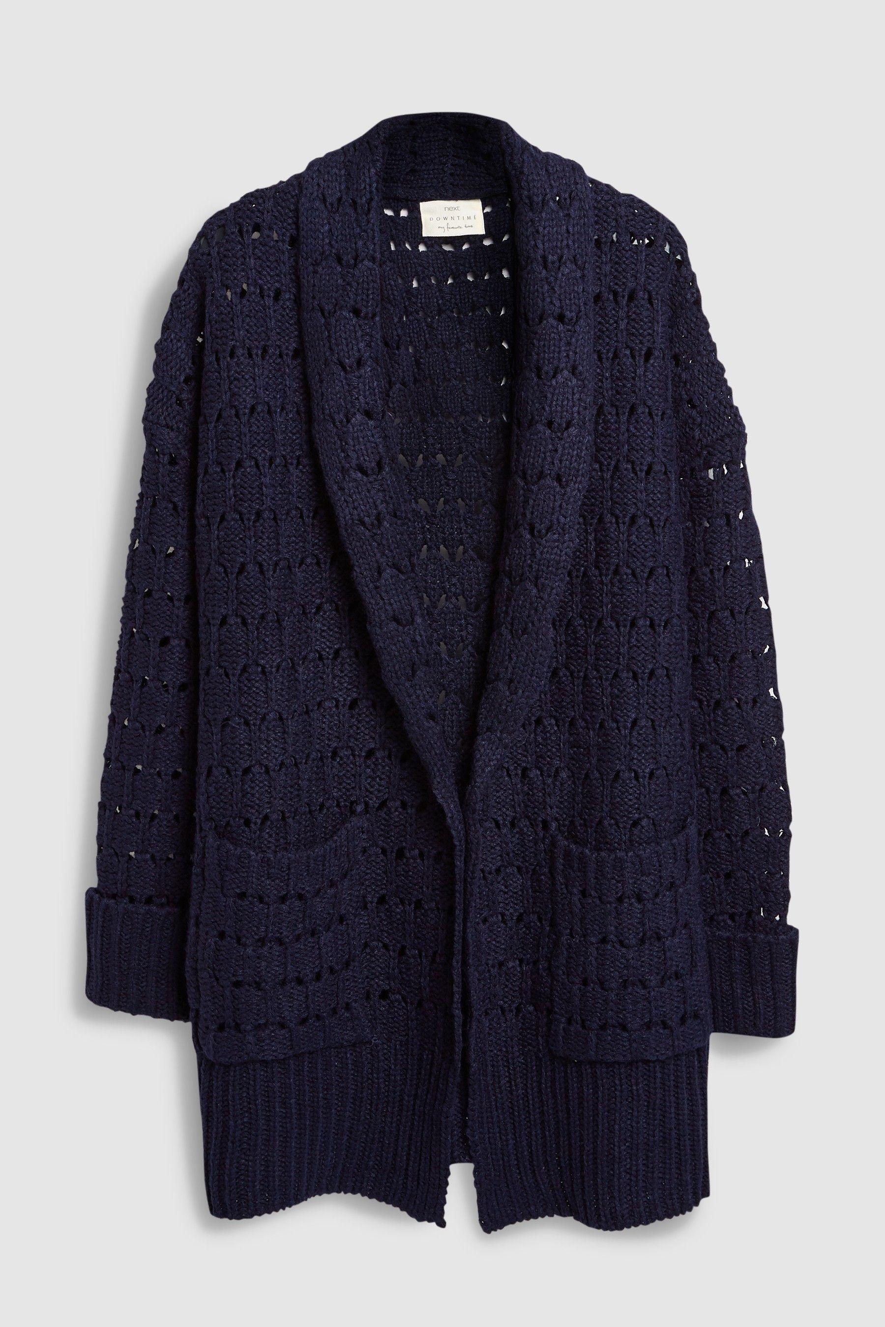 Womens Next Navy Chunky Knit Cardigan - Blue  84920cc35