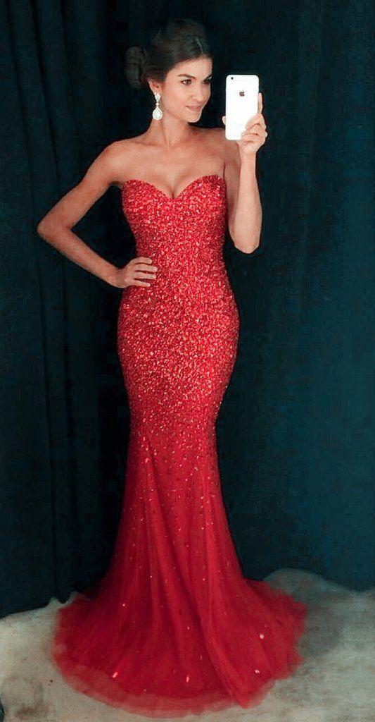 f2e4825878e 2017 Red Sparkling Prom Dresses