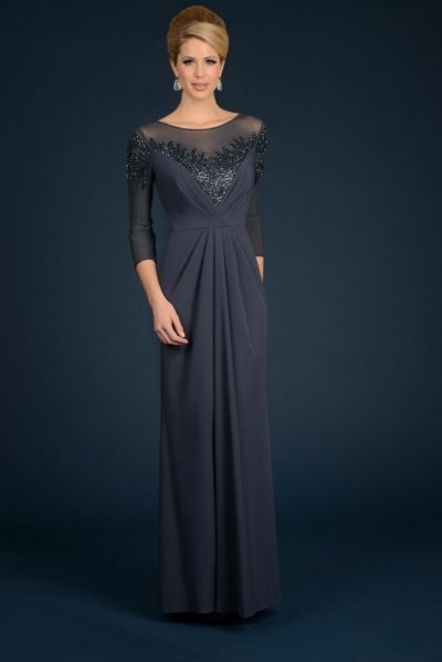 Daymor Couture 707 Mother of the Bride Illusion Dress - French Novelty $770