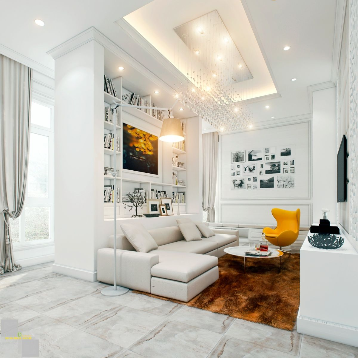 living-room-white-puffy-sofa-white-pillow-yellow-modern-chair-orange ...