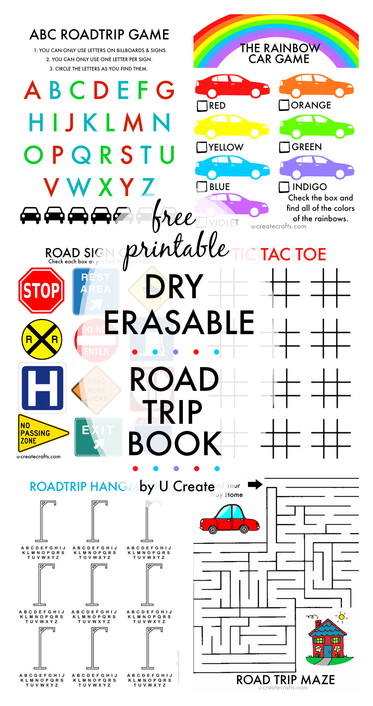 free printable dry erasable road trip book for kids awesome idea