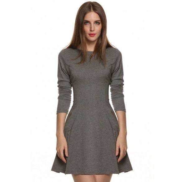 Stylish Ladies Women Casual Long Sleeve High Waist Mini Pleated Dress