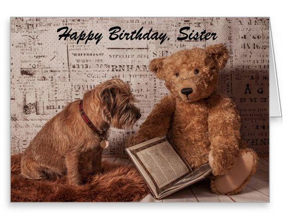 Border Terrier Dog And Mohair Bear Birthday Greeting Card Etsy Birthday Greeting Cards Border Terrier Birthday Greetings
