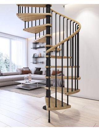 Best Black Metalwork Natural Beech Treads Handrail 400 x 300