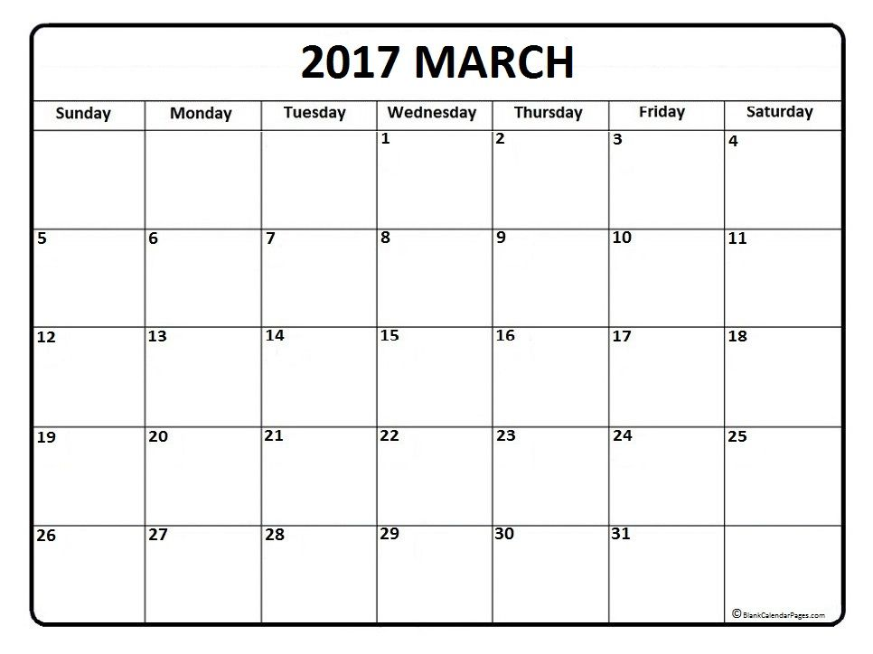 March Calendar  Printable And Free Blank Calendar  Printable