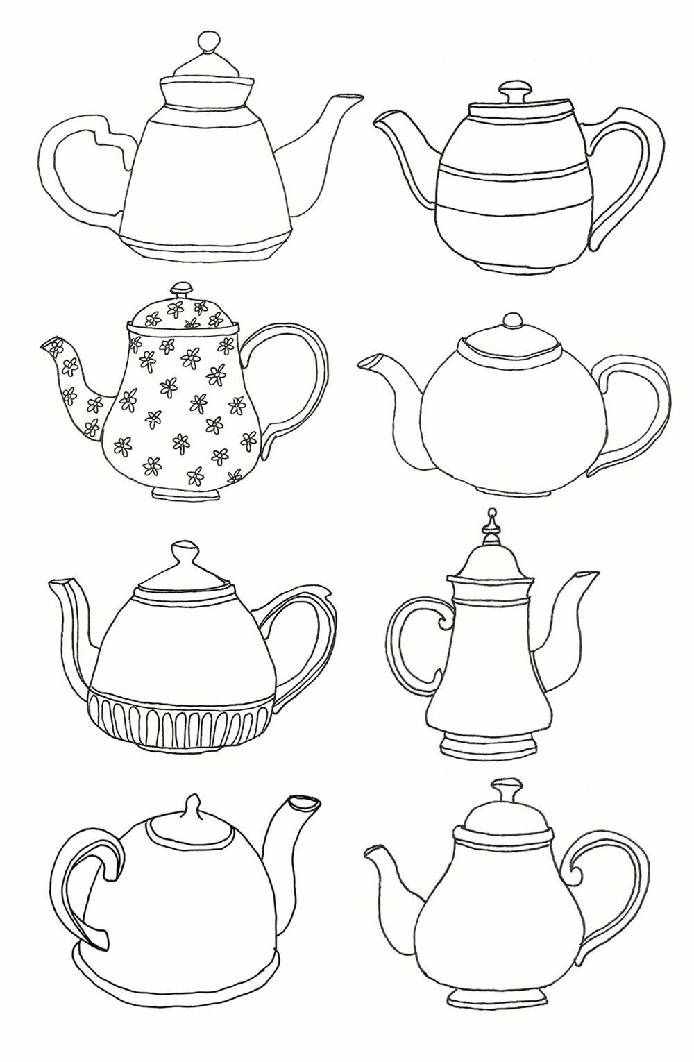 Tea pots   Tiny embroidered patterns for hexi\'s   Pinterest   Tea ...