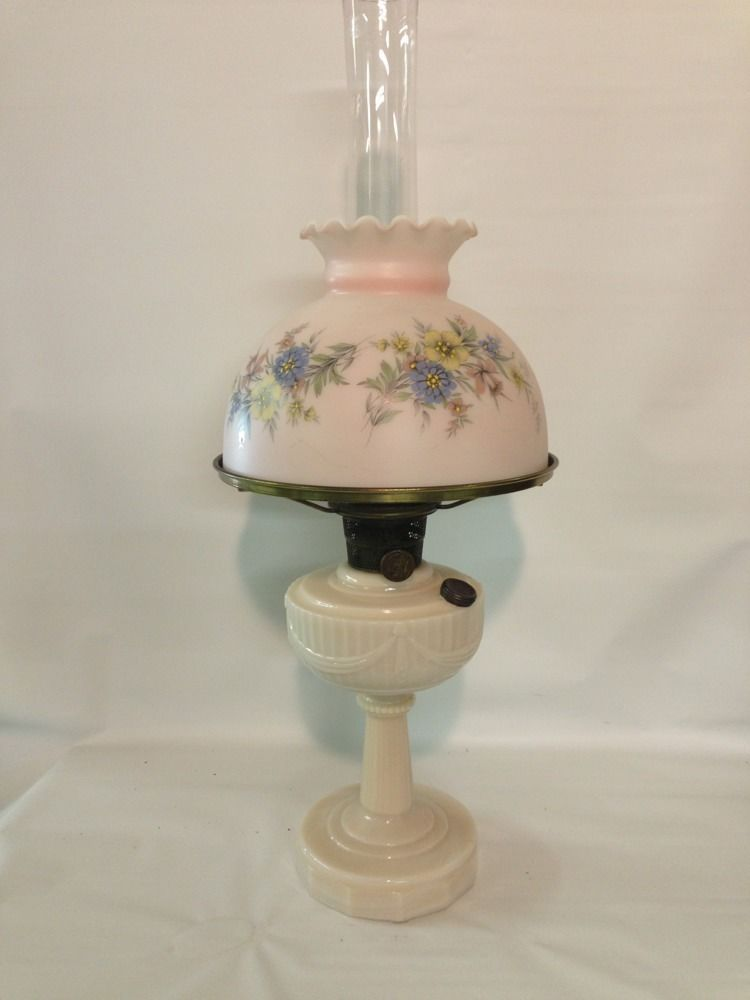 Pink Milk Glass Lincoln Drape Aladdin Oil Lamp Pink Shade Flowers