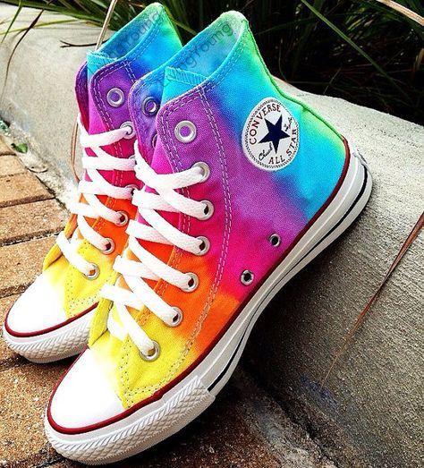 Tiedye Custom Converse Sneakers Hand Painted 100 Hand Painted 100